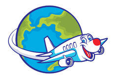 Cartoon plane flying around the globe Stock Photo