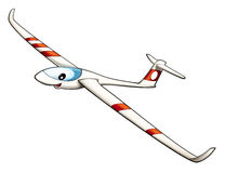 Cartoon plane - glider - caricature Royalty Free Stock Images