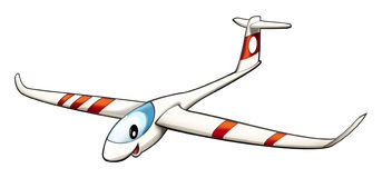 Cartoon plane - glider - isolated - caricature Royalty Free Stock Image