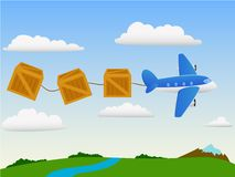 Cartoon plane in the sky with cargo Royalty Free Stock Photo