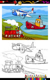 Cartoon plane train ship coloring page. Coloring Book or Page Cartoon Illustration of Cute Plane and Train and Ship Transport Comic Characters for Children Royalty Free Stock Image