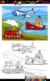 Cartoon plane train ship coloring page stock illustration