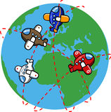 Cartoon Planes around the world Royalty Free Stock Photography