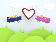 Cartoon planes with heart. Cartoon planes flying over the landscape with a heart Stock Images