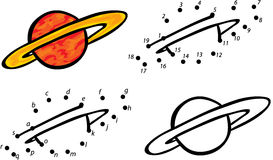 Cartoon planet Jupiter. Vector illustration. Coloring and dot to Royalty Free Stock Images