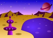 Cartoon planet landscape royalty free stock photography