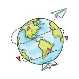 Cartoon planet with paper ships and airplanes. Illustration of travel around the world. Logo for travel agencies. Drawing for children. Art royalty free illustration