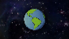 Cartoon planet in space pixel style Stock Images