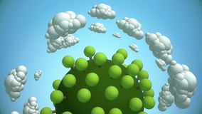 Cartoon planet with tree and flying clouds stock footage