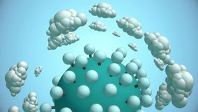 Cartoon planet with tree and flying clouds. 3d animation with alpha-matte channel stock video footage
