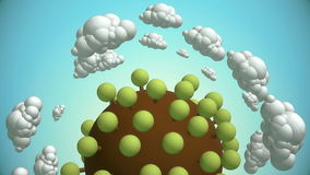 Cartoon planet with tree and flying clouds. 3d animation with alpha-matte channel stock video