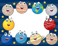 Cartoon Planets Horizontal Photo Frame. Horizontal photo frame with the eight cartoon planets of the solar system with the Sun and the Moon, on a blue outer Royalty Free Stock Photography