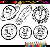 Cartoon Planets and Orbs coloring page. Coloring Book or Page Cartoon Illustration of Black and White Planets and Orbs Comic Characters Set for Children Stock Image