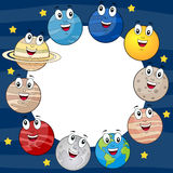 Cartoon Planets Round Photo Frame. Circular photo frame with the eight cartoon planets of the solar system with the Sun and the Moon, on a blue outer space Royalty Free Stock Photo