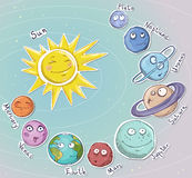 Cartoon planets. Solar system. Vector illustration Royalty Free Stock Image