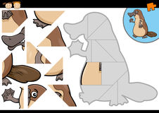 Cartoon platypus jigsaw puzzle game. Cartoon Illustration of Education Jigsaw Puzzle Game for Preschool Children with Funny Platypus Animal Character Royalty Free Stock Photography