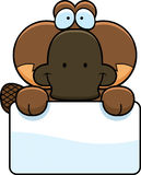 Cartoon Platypus Sign Royalty Free Stock Photo