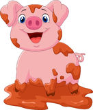 Cartoon play pig slurry Royalty Free Stock Photography