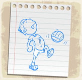 Cartoon player  soccer on paper note, vector illustration Royalty Free Stock Photo