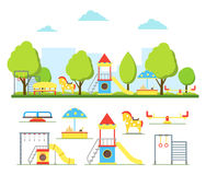 Cartoon Playground in City and Element Set. Vector Royalty Free Stock Photos