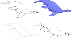 Cartoon pliosaur. Vector illustration. Dot to dot game for kids Stock Photos