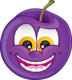 Cartoon Plum. Cute plum fruit character with wide smile and teeth exposed for plum-flavored fruit candy or drink Stock Images