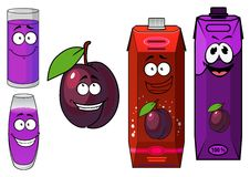 Cartoon plum with drinks containers Royalty Free Stock Images