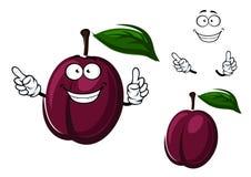Cartoon plum fruit with purple peel Royalty Free Stock Photo