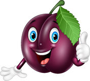 Cartoon plum giving thumbs up. Illustration of Cartoon plum giving thumbs up Royalty Free Stock Image
