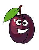 Cartoon plum with a happy smile Royalty Free Stock Photo