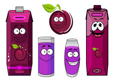 Cartoon plum juice characters for food pack design Stock Image