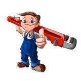 Cartoon plumber boy vector illustration