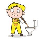Cartoon Plumber Cleaning Toilet Seat Vector Illustration Royalty Free Stock Photos