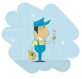 Cartoon plumber that dressed in work clothes and carrying tool Royalty Free Stock Images