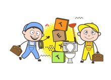 Cartoon Plumber and Electrician Workers Vector Royalty Free Stock Photo