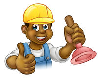 Cartoon Plumber Handyman Holding Punger Stock Image