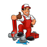 Cartoon plumber holding a big wrench. Stock Photography