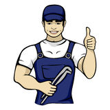 Cartoon plumber holding a monkey wrench Royalty Free Stock Images