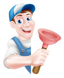 Cartoon Plumber Holding Plunger Royalty Free Stock Images