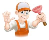 Cartoon Plumber holding Plunger. A cartoon plumber holding plunger and smiling and waving Royalty Free Stock Image