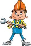 Cartoon plumber holding a tool Stock Photo
