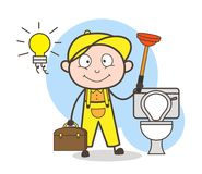 Cartoon Plumber with Plunger Cleaning Bathroom Vector Illustration. Cartoon Plumber with Plunger Cleaning Bathroom Vector design Royalty Free Stock Images