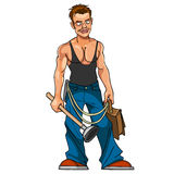Cartoon plumber with plunger and portfolio. Plumber with plunger and portfolio Royalty Free Stock Images