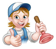 Cartoon Plumber Woman Holding Plunger. A plumber handyman cartoon character holding a plunger and giving a thumbs up Royalty Free Stock Photos