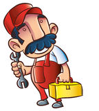 Cartoon plumber with wrench and toolkit Royalty Free Stock Photography