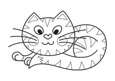 Cartoon plump kitty, cute striped cat, coloring Stock Photo