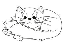Cartoon plump kitty, vector illustration of funny cute cat, coloring book Stock Photography