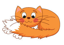 Cartoon plump red cat with kind muzzle, stretching Stock Photography