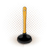 Cartoon plunger icon with yellow handle. Plunger icon on the white background. Marketing info Royalty Free Stock Photography