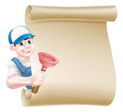 Cartoon Plunger Plumber Stock Photo